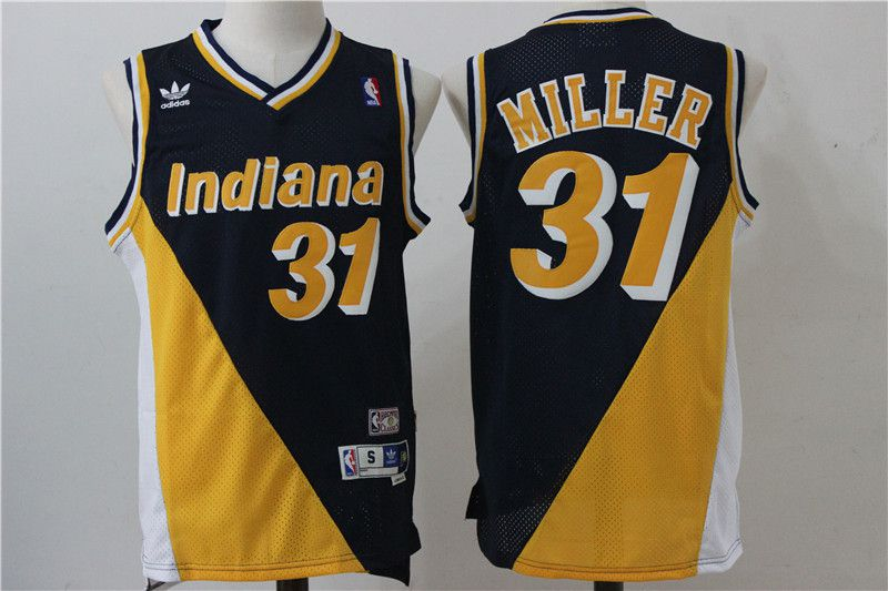 Men Indiana Pacers 31 Miller Black Yellow Throwback Adidas NBA Jersey