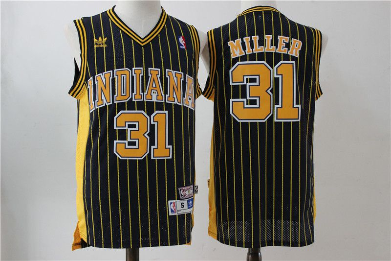 Men Indiana Pacers 31 Miller Blue Stripe Throwback Adidas NBA Jersey