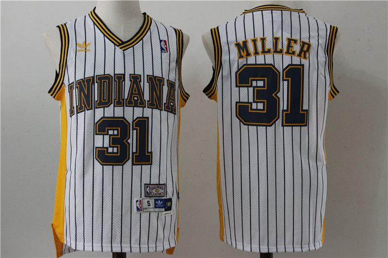 Men Indiana Pacers 31 Miller White Stripe Throwback Adidas NBA Jersey