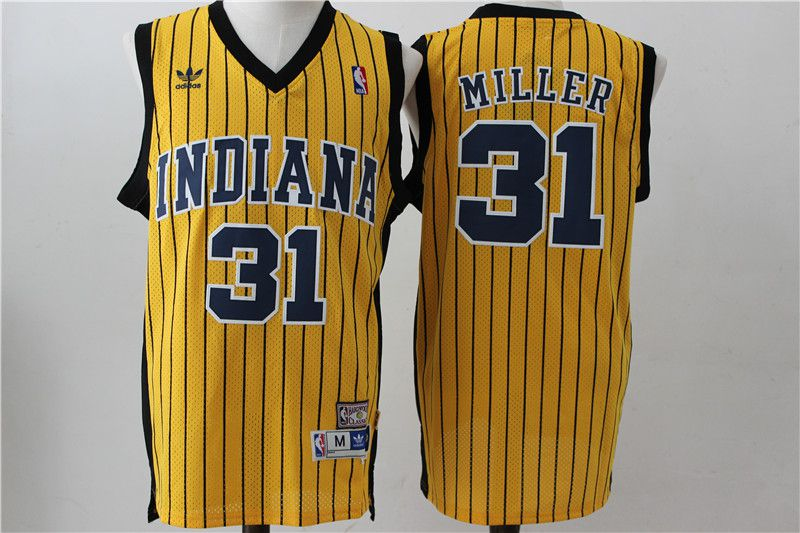 Men Indiana Pacers 31 Miller Yellow Stripe Throwback Adidas NBA Jersey