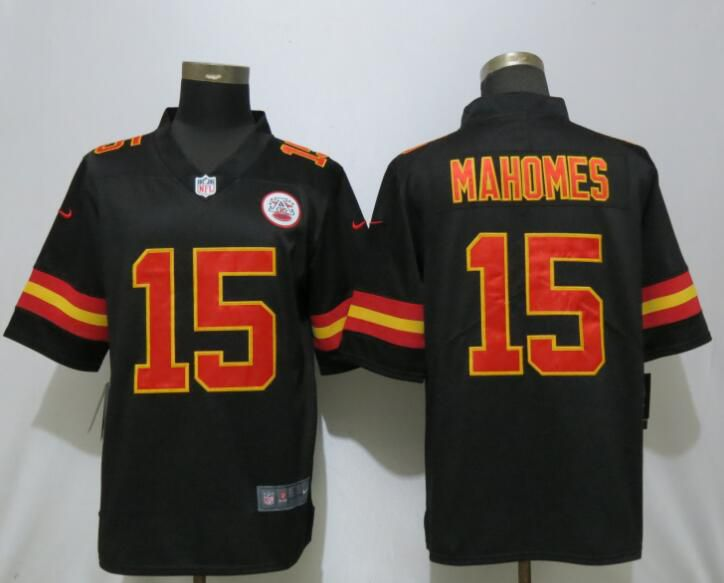 Men Kansas City Chiefs 15 Mahomes Black Nike Vapor Untouchable Limited Playey NFL Jersey