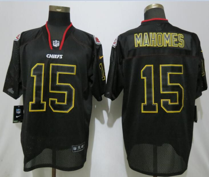 Men Kansas City Chiefs 15 Mahomes Nike Lights Out Black Elite NFL Jerseys