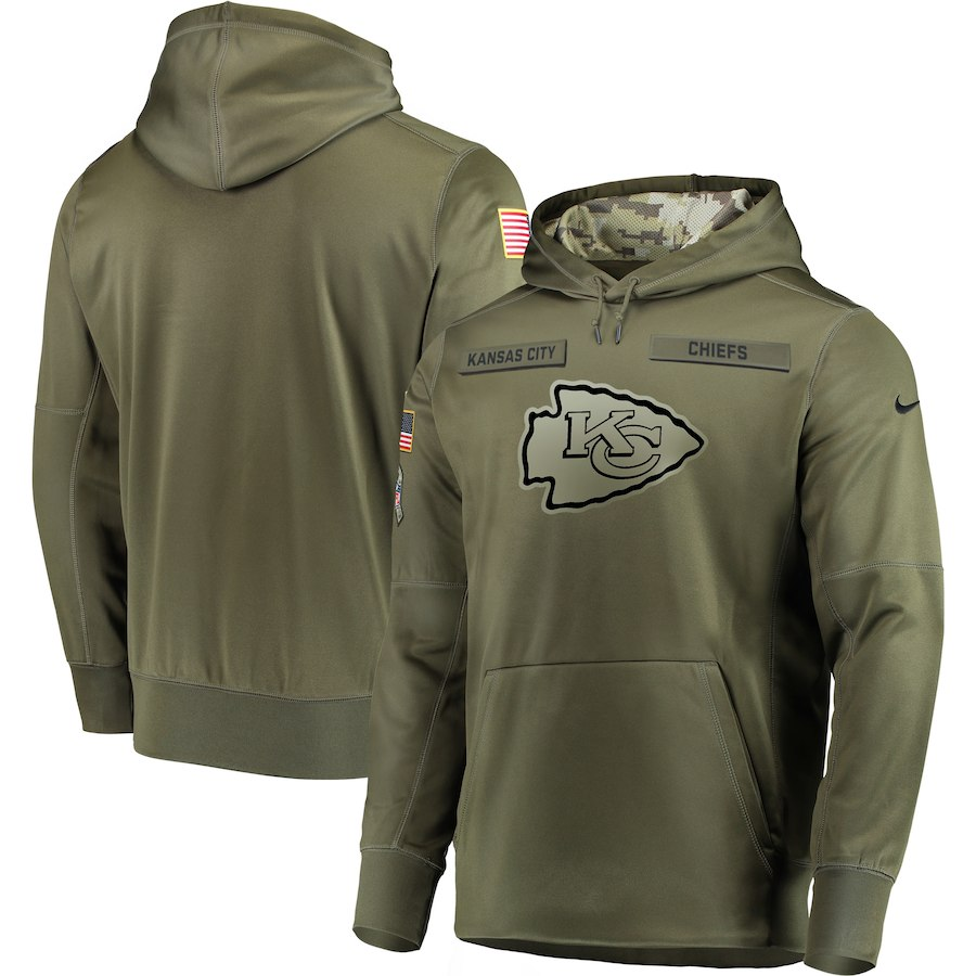 Men Kansas City Chiefs Nike Olive Salute To Service KO Performance Hoodie Green
