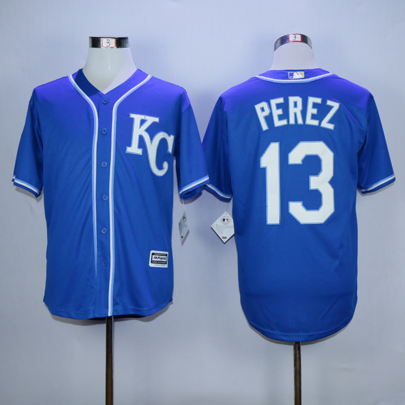Men Kansas City Royals 13 Perez Blue MLB Jerseys