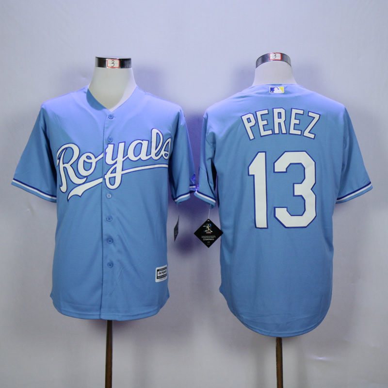 Men Kansas City Royals 13 Perez Light Blue Game MLB Jerseys