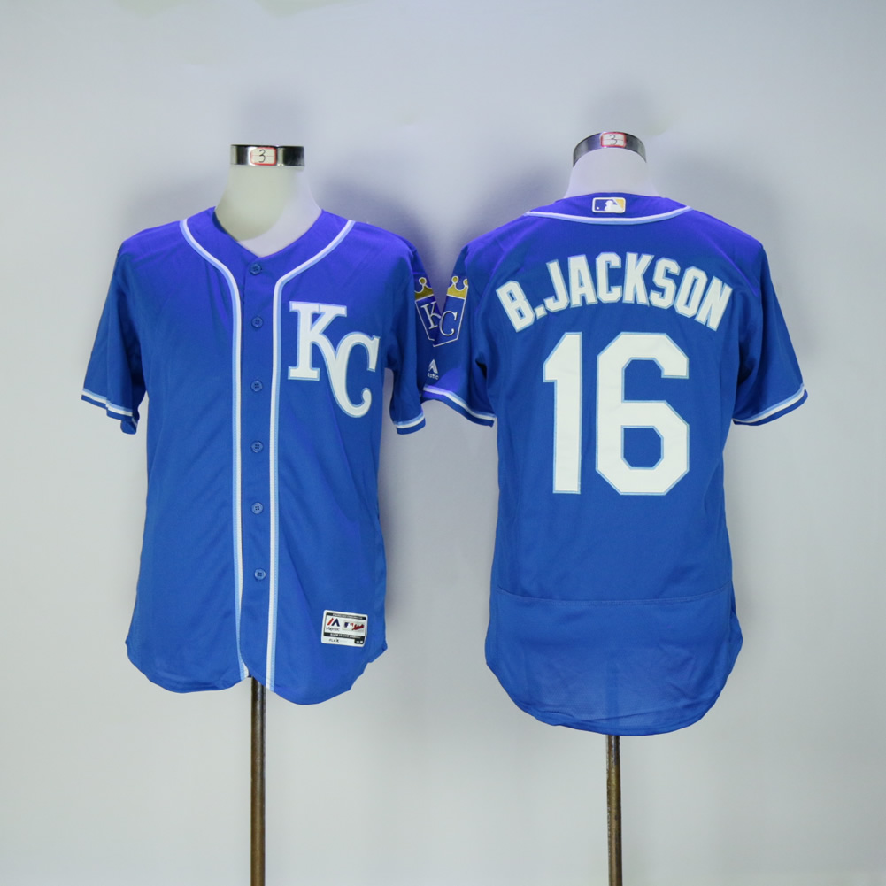 Men Kansas City Royals 16 B.Jackson Blue Elite MLB Jerseys
