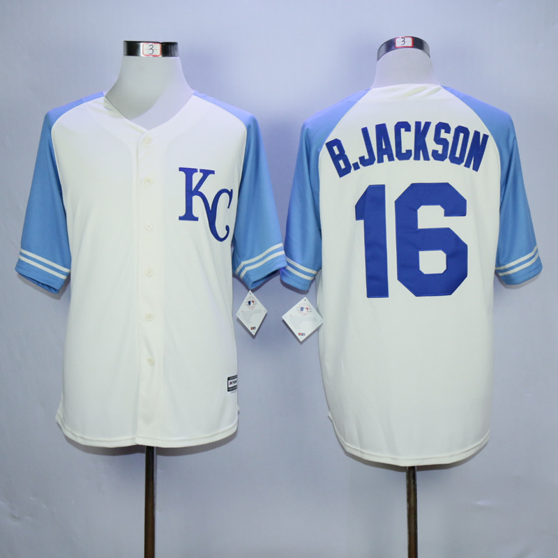 Men Kansas City Royals 16 B.Jackson Cream White MLB Jerseys
