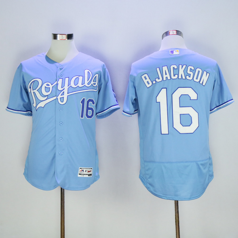 Men Kansas City Royals 16 B.Jackson Light Blue Elite MLB Jerseys