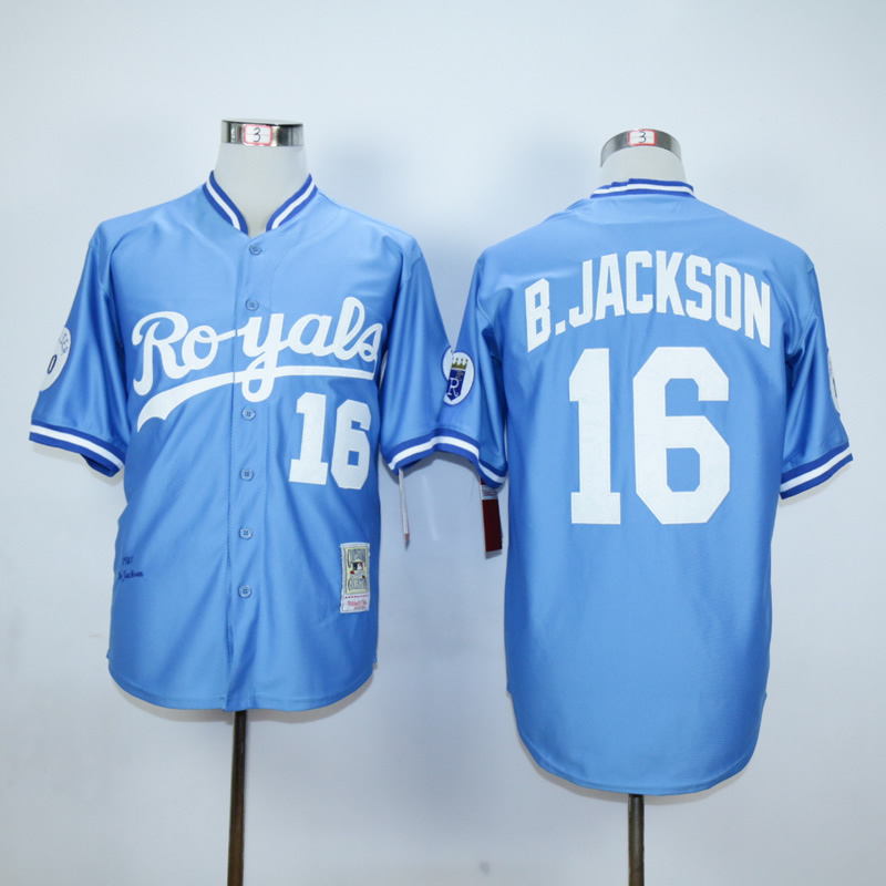 Men Kansas City Royals 16 B.Jackson Light Blue Throwback 1987 MLB Jerseys