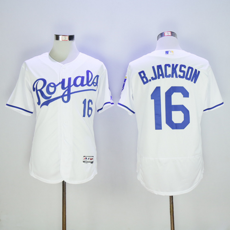 Men Kansas City Royals 16 B.Jackson White Elite MLB Jerseys