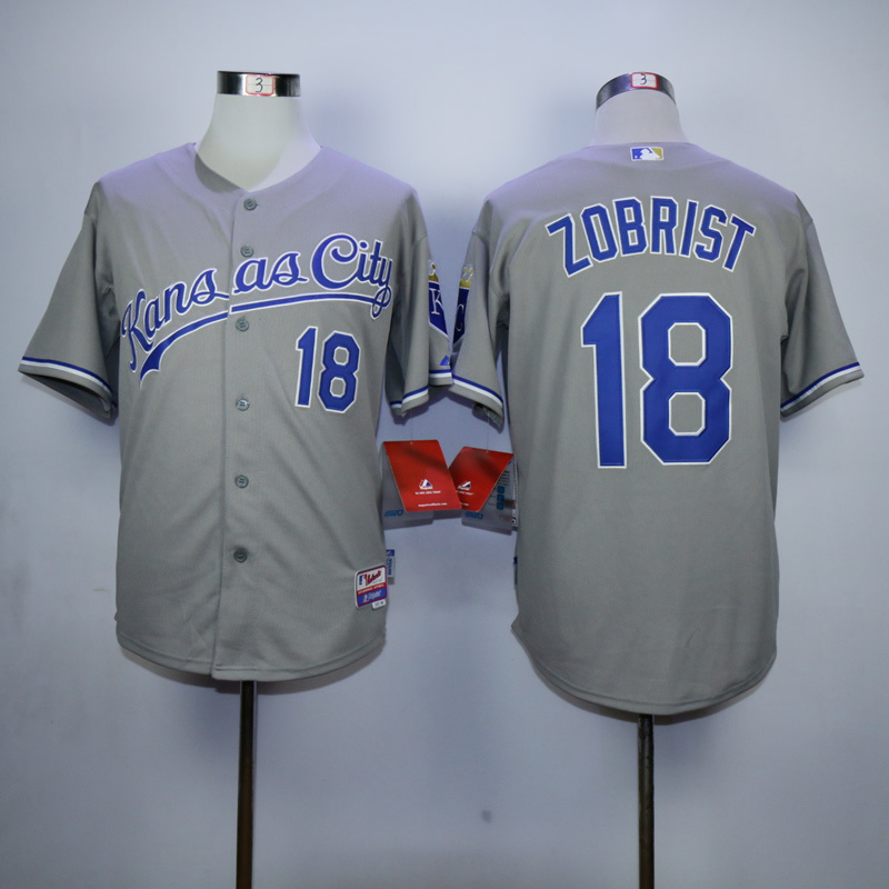 Men Kansas City Royals 18 Zobrist Grey MLB Jerseys