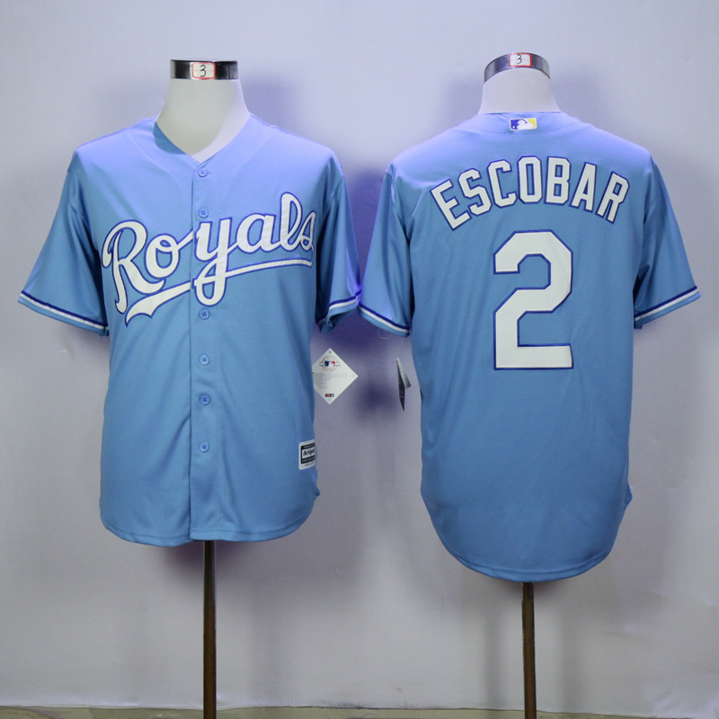 Men Kansas City Royals 2 Eacobar Light Blue Game MLB Jerseys