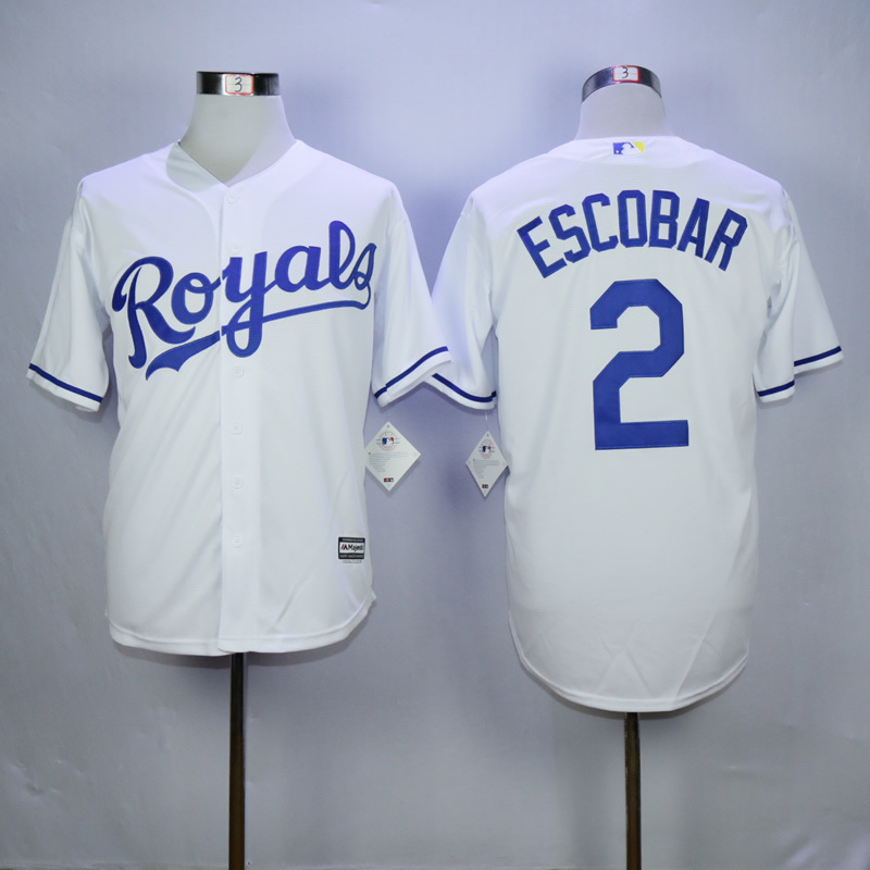 Men Kansas City Royals 2 Eacobar White MLB Jerseys