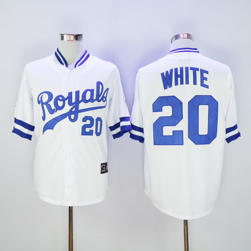 Men Kansas City Royals 20 White White Throwback MLB Jerseys