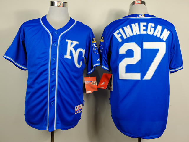 Men Kansas City Royals 27 Finnegan Blue MLB Jerseys