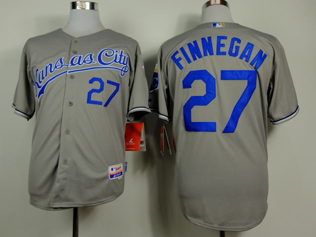 Men Kansas City Royals 27 Finnegan Grey MLB Jerseys