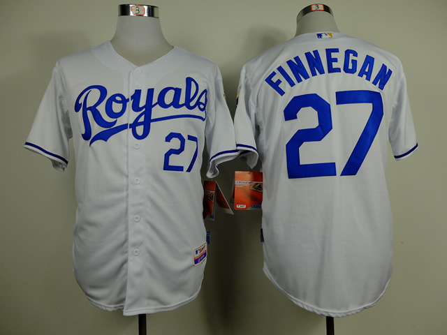Men Kansas City Royals 27 Finnegan White MLB Jerseys