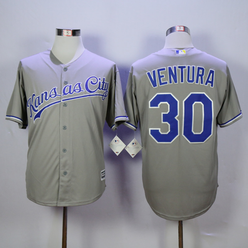Men Kansas City Royals 30 Ventura Grey MLB Jerseys