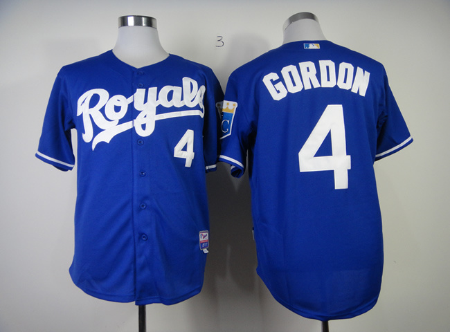 Men Kansas City Royals 4 Gordon Blue MLB Jerseys