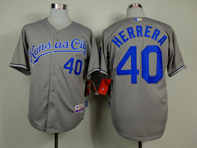Men Kansas City Royals 40 Herrera Grey MLB Jerseys