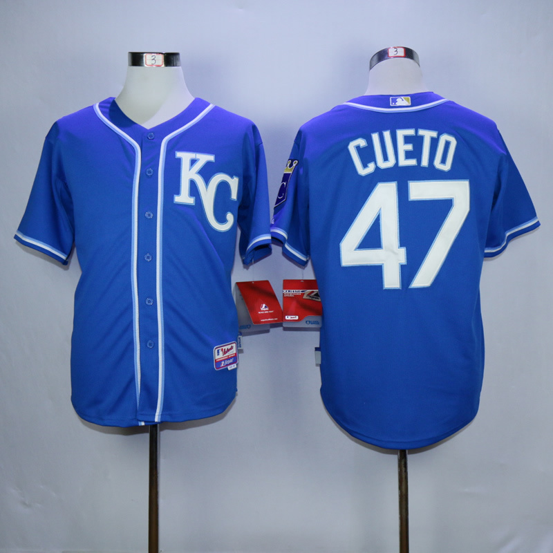 Men Kansas City Royals 47 Cueto Blue MLB Jerseys