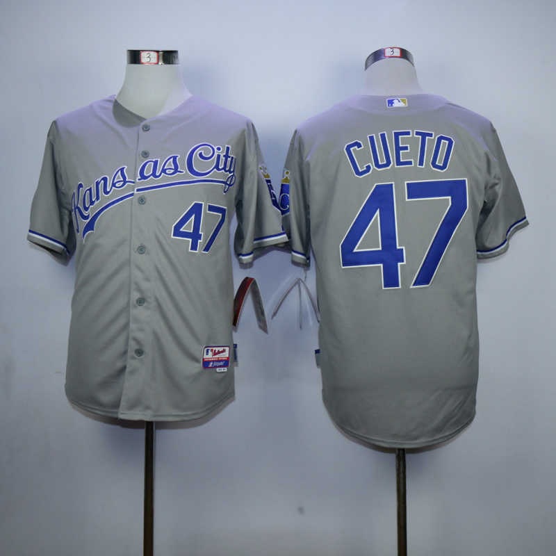Men Kansas City Royals 47 Cueto Grey MLB Jerseys