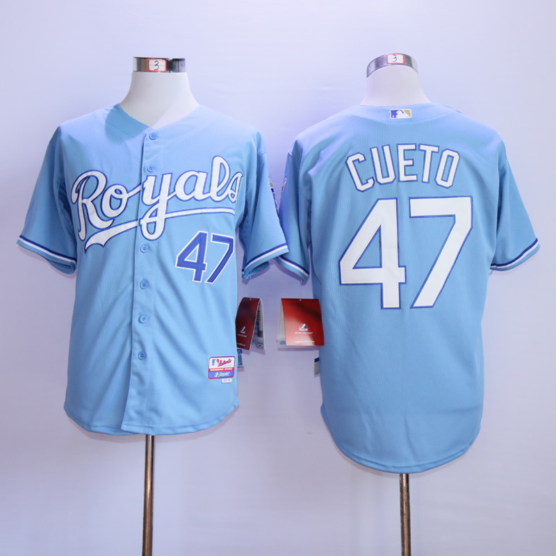 Men Kansas City Royals 47 Cueto Light Blue MLB Jerseys