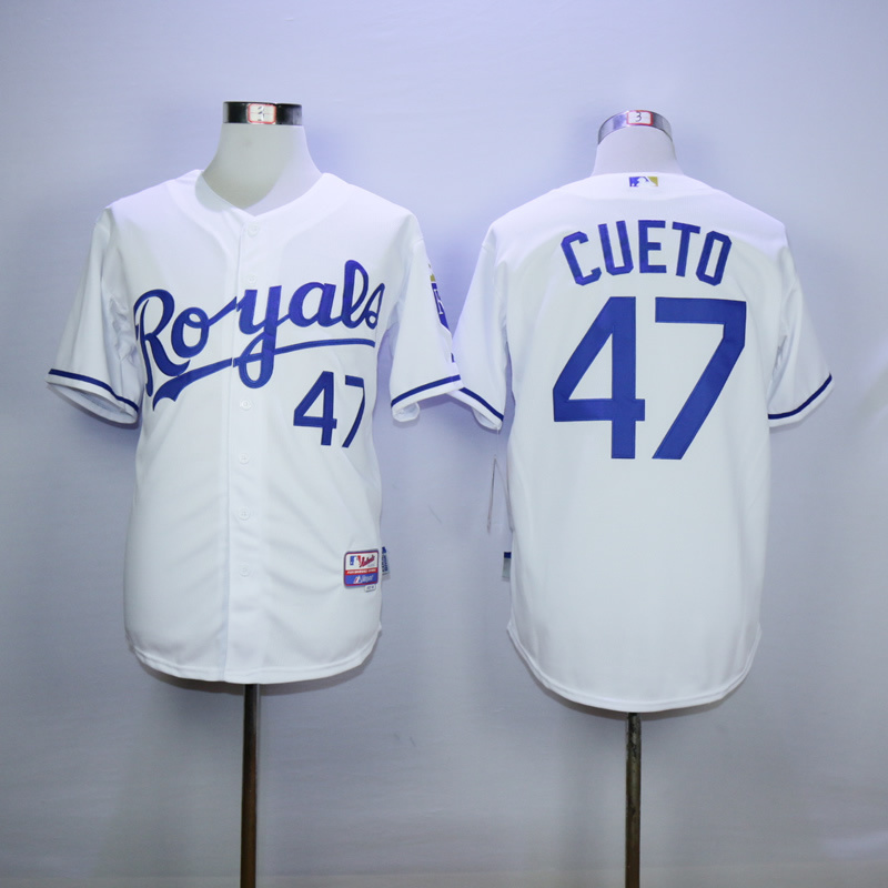 Men Kansas City Royals 47 Cueto White MLB Jerseys