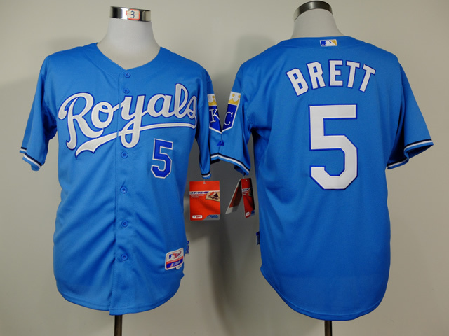 Men Kansas City Royals 5 Brett Light Blue MLB Jerseys