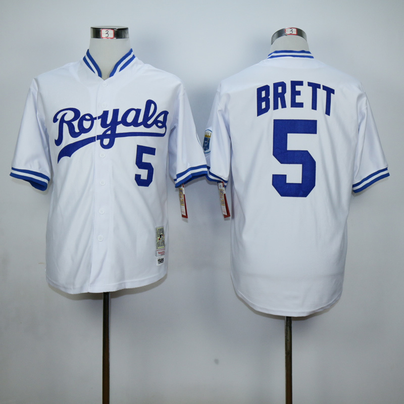 Men Kansas City Royals 5 Brett White Throwback 1989 MLB Jerseys