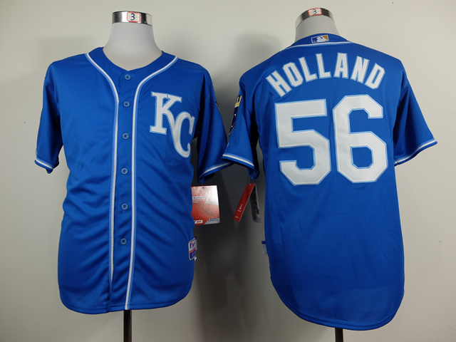 Men Kansas City Royals 56 Holland Blue MLB Jerseys