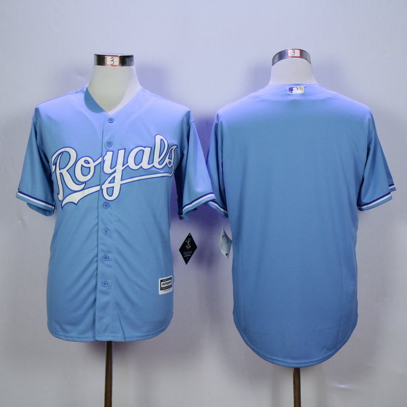 Men Kansas City Royals Blank Light Blue MLB Jerseys