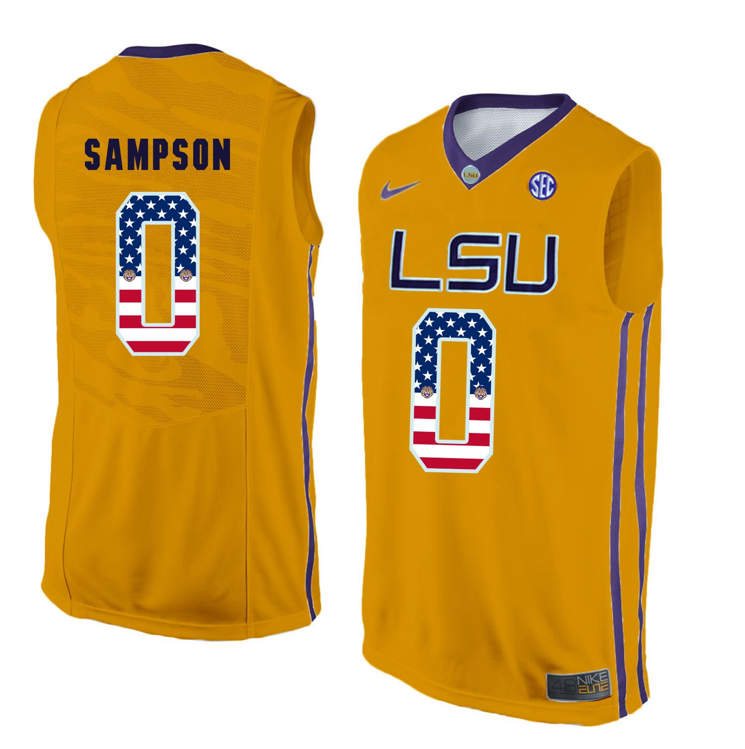 Men LSU Tigers 0 Sampson Yellow Flag Customized NCAA Jerseys