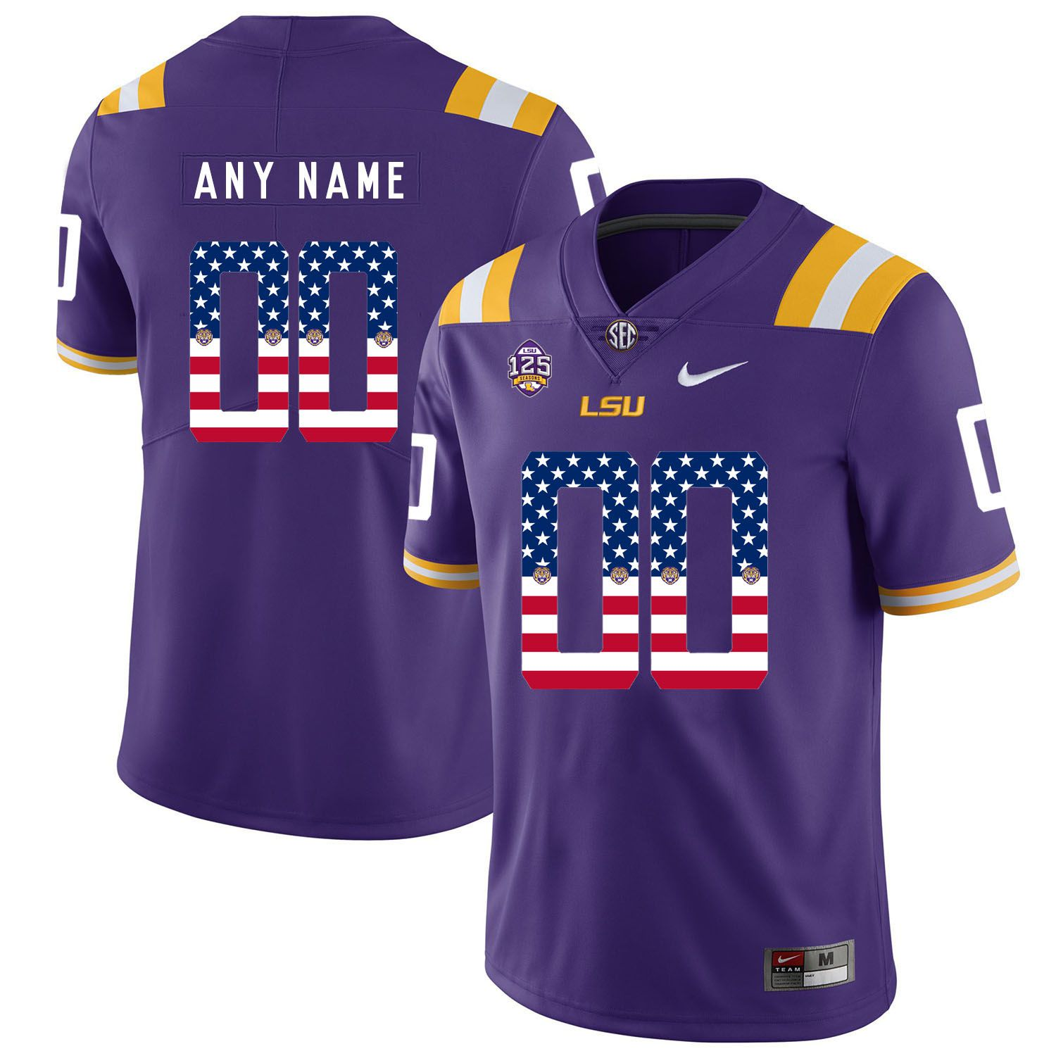 Men LSU Tigers 00 Any name Purple Flag Customized NCAA Jerseys
