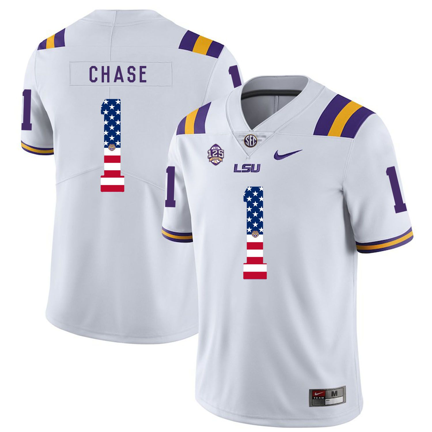 Men LSU Tigers 1 Chase White Flag Customized NCAA Jerseys