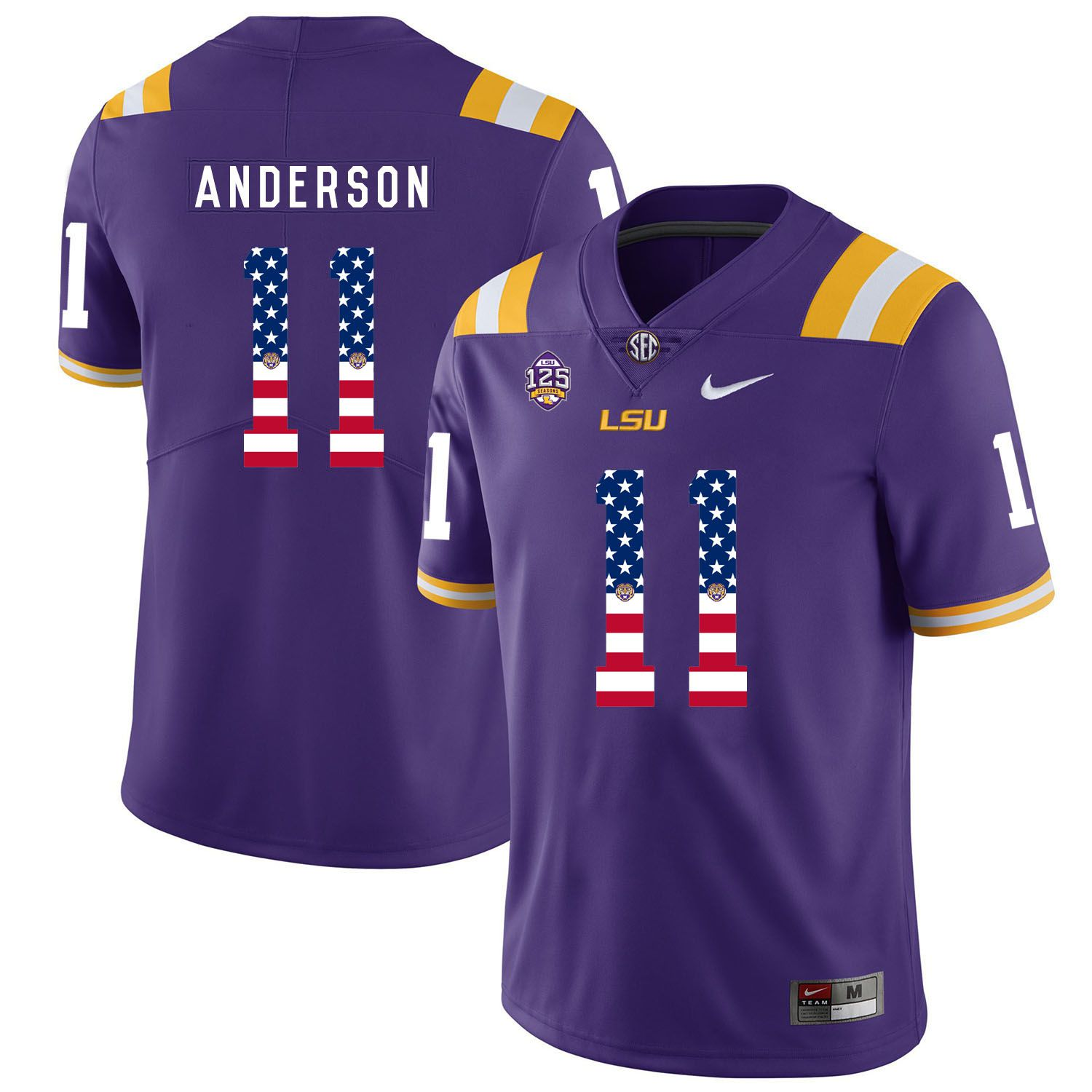 Men LSU Tigers 11 Anderson Purple Flag Customized NCAA Jerseys