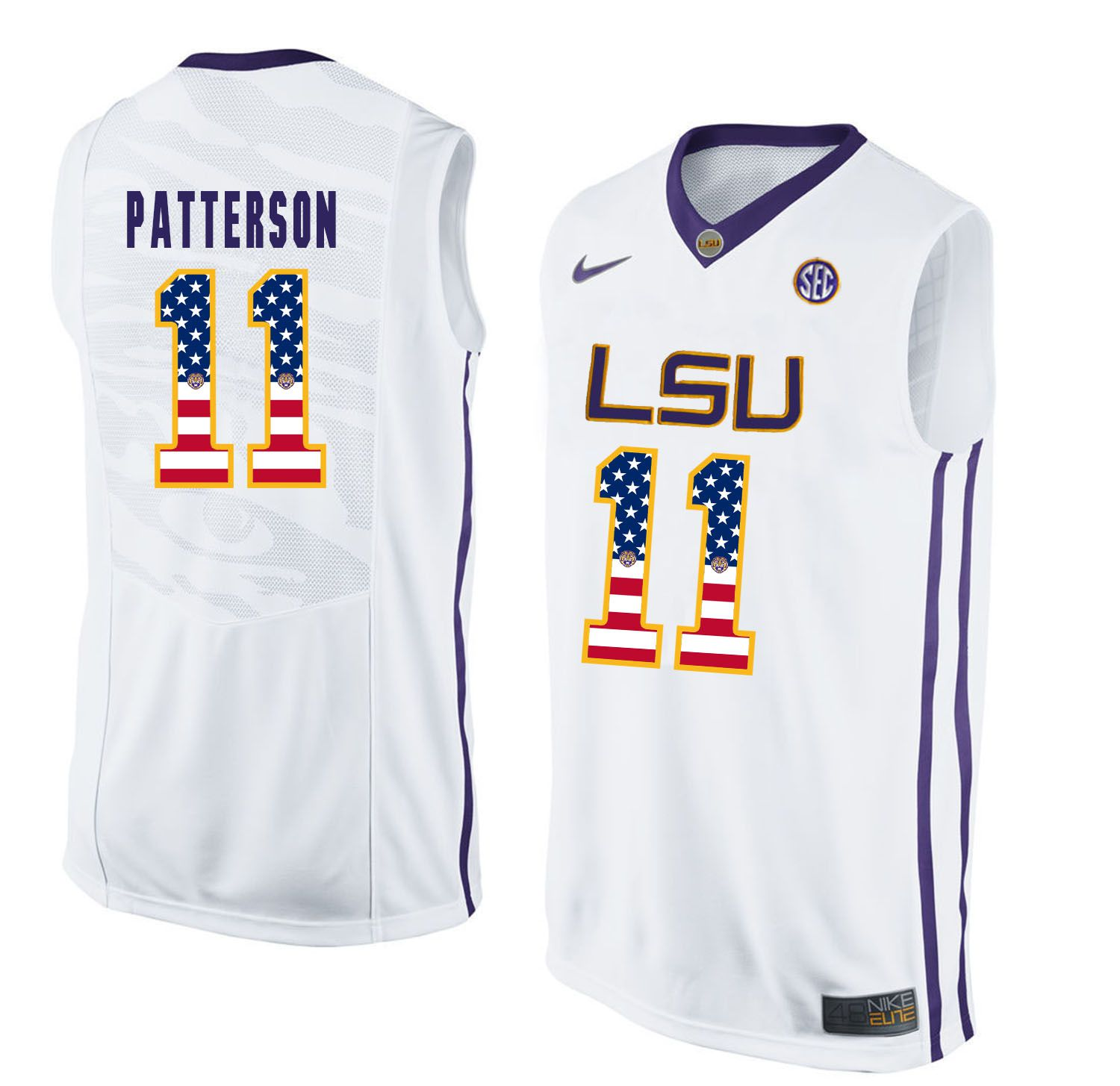 Men LSU Tigers 11 Patterson White Flag Customized NCAA Jerseys