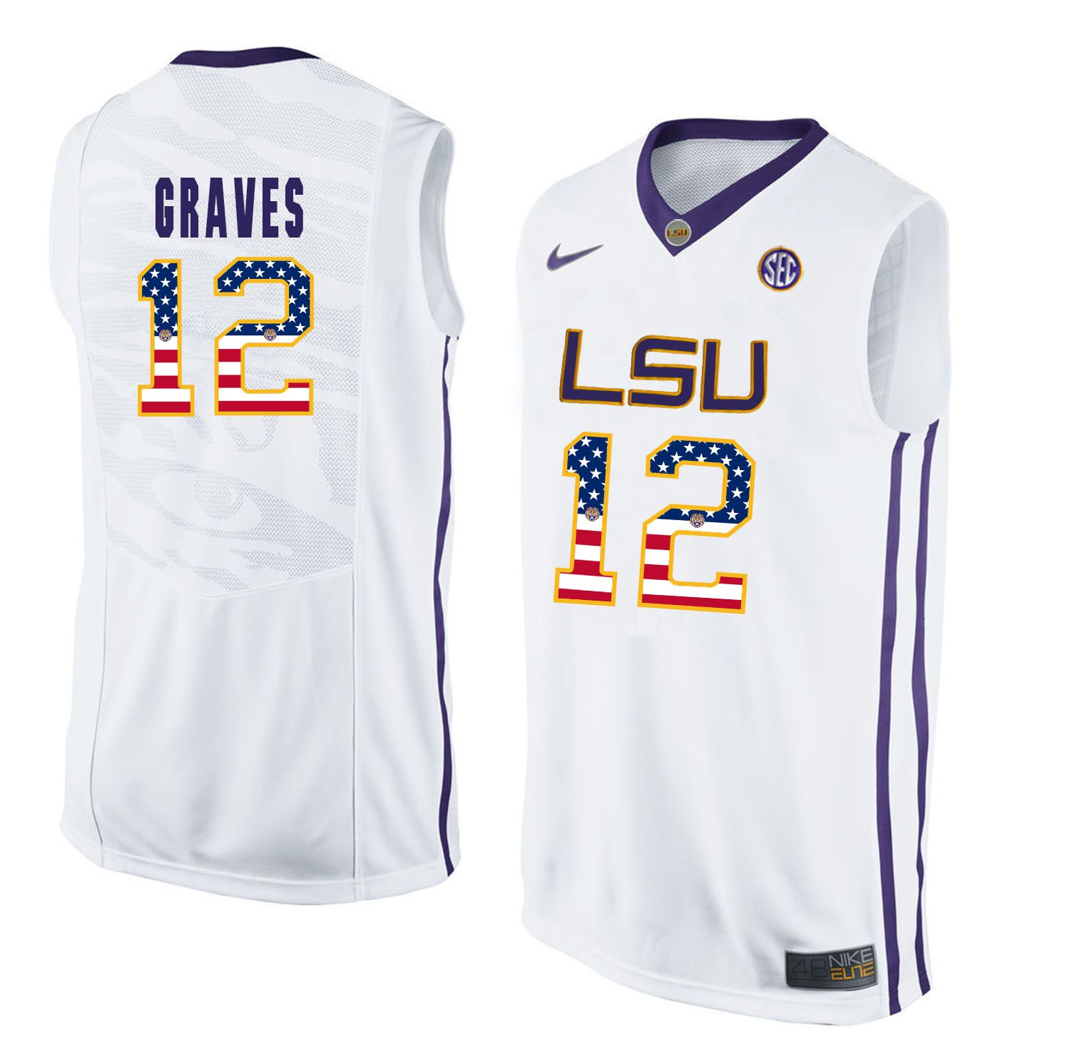 Men LSU Tigers 12 Graves White Flag Customized NCAA Jerseys