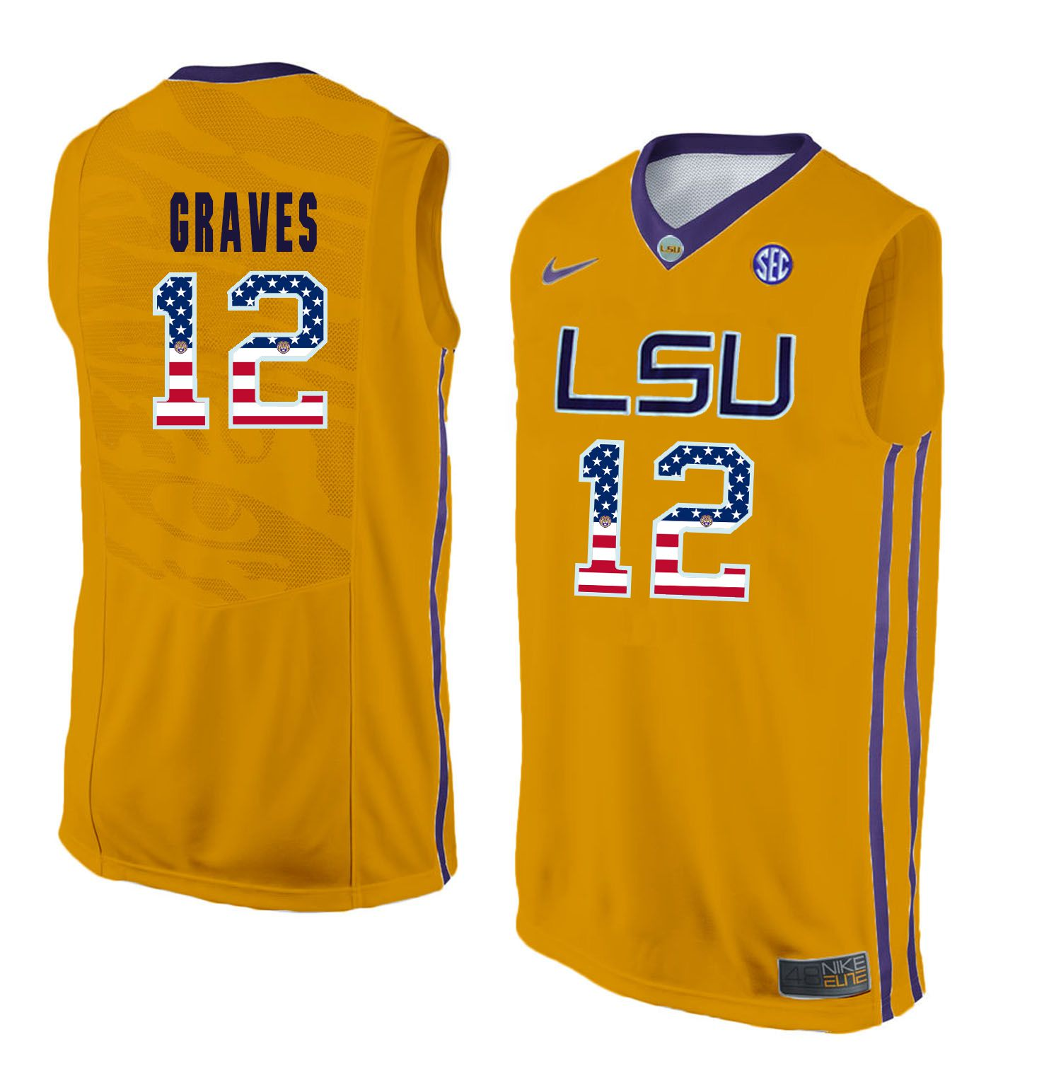Men LSU Tigers 12 Graves Yellow Flag Customized NCAA Jerseys