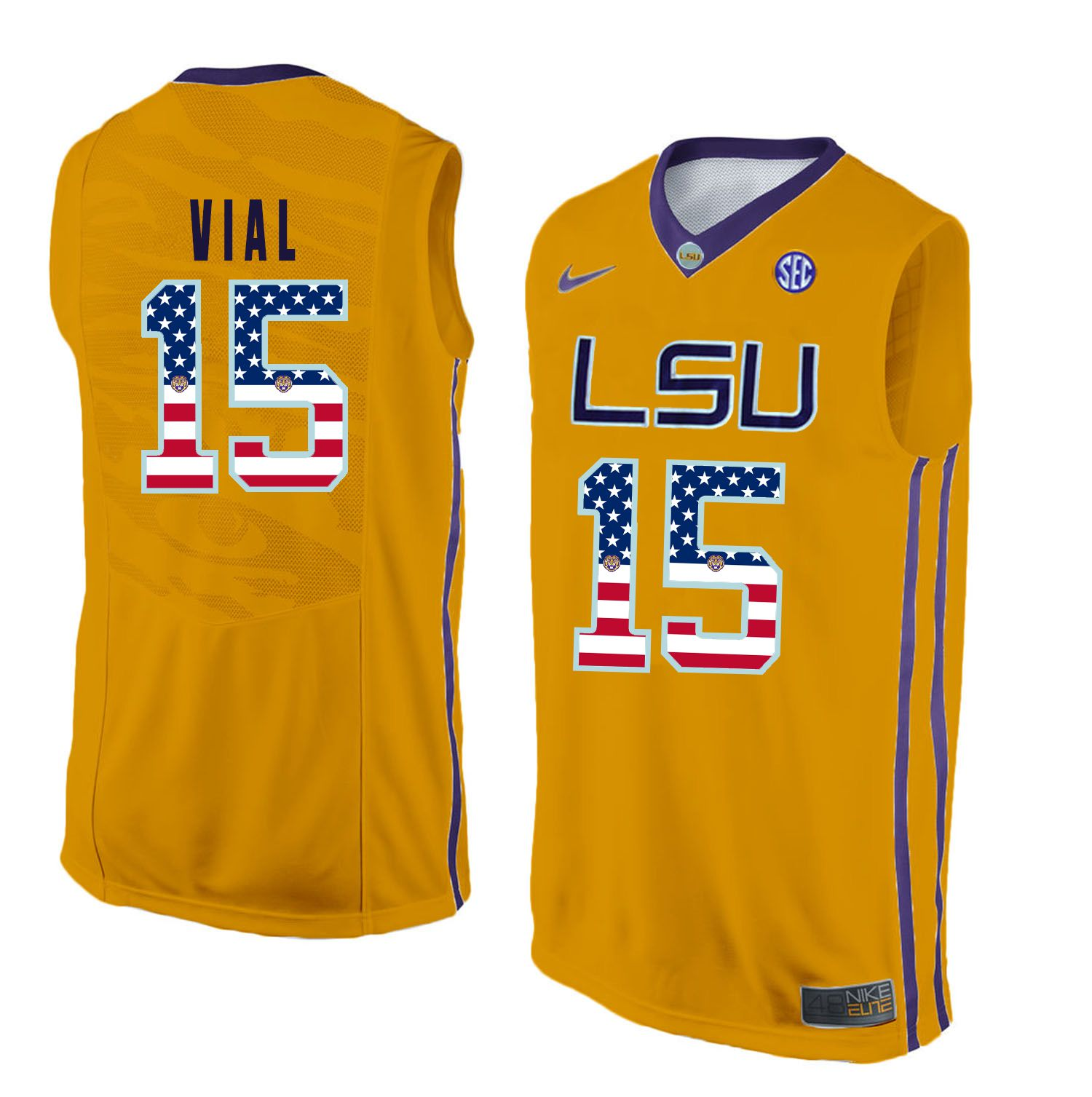 Men LSU Tigers 15 Vial Yellow Flag Customized NCAA Jerseys