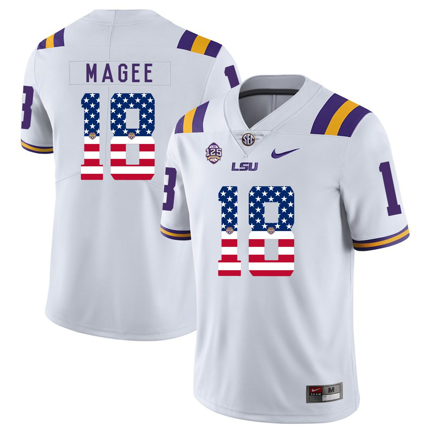 Men LSU Tigers 18 Magee White Flag Customized NCAA Jerseys