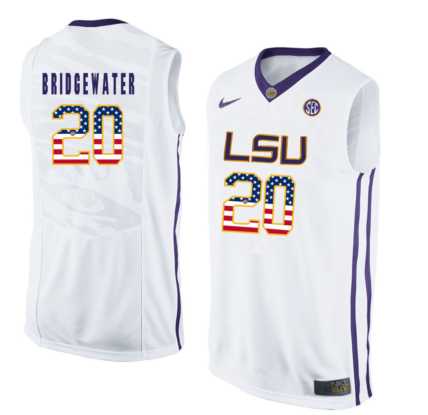 Men LSU Tigers 20 Bridgewater White Flag Customized NCAA Jerseys