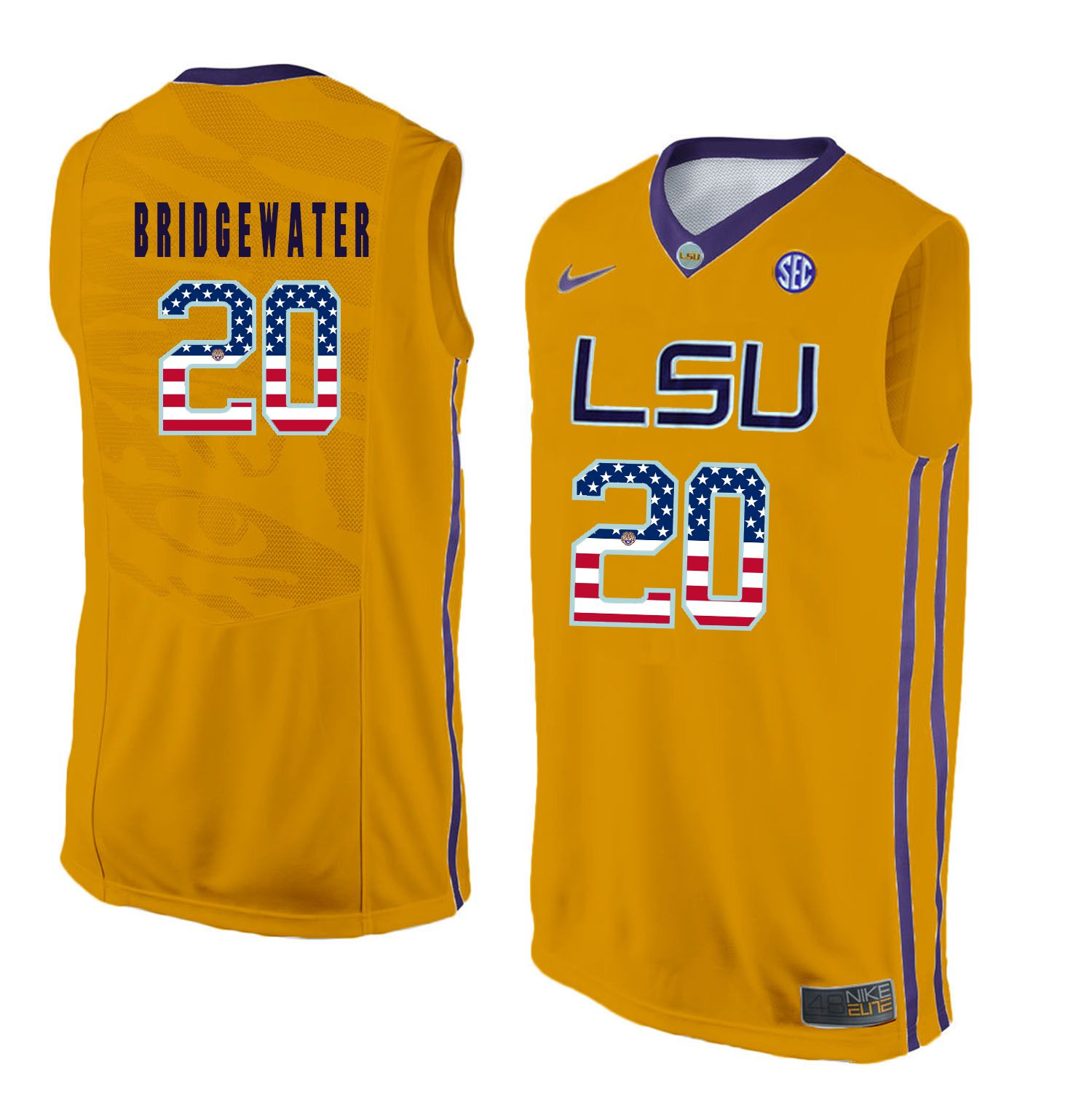 Men LSU Tigers 20 Bridgewater Yellow Flag Customized NCAA Jerseys