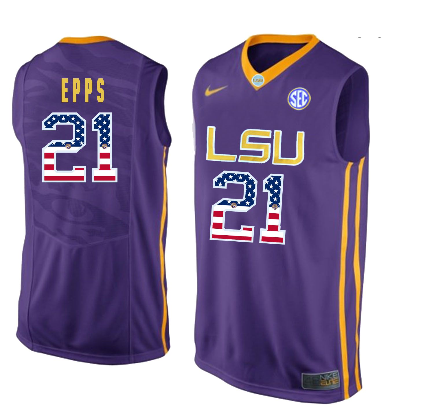 Men LSU Tigers 21 Epps Purple Flag Customized NCAA Jerseys