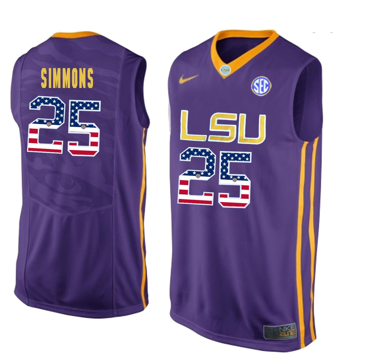 Men LSU Tigers 25 Simmons Purple Flag Customized NCAA Jerseys