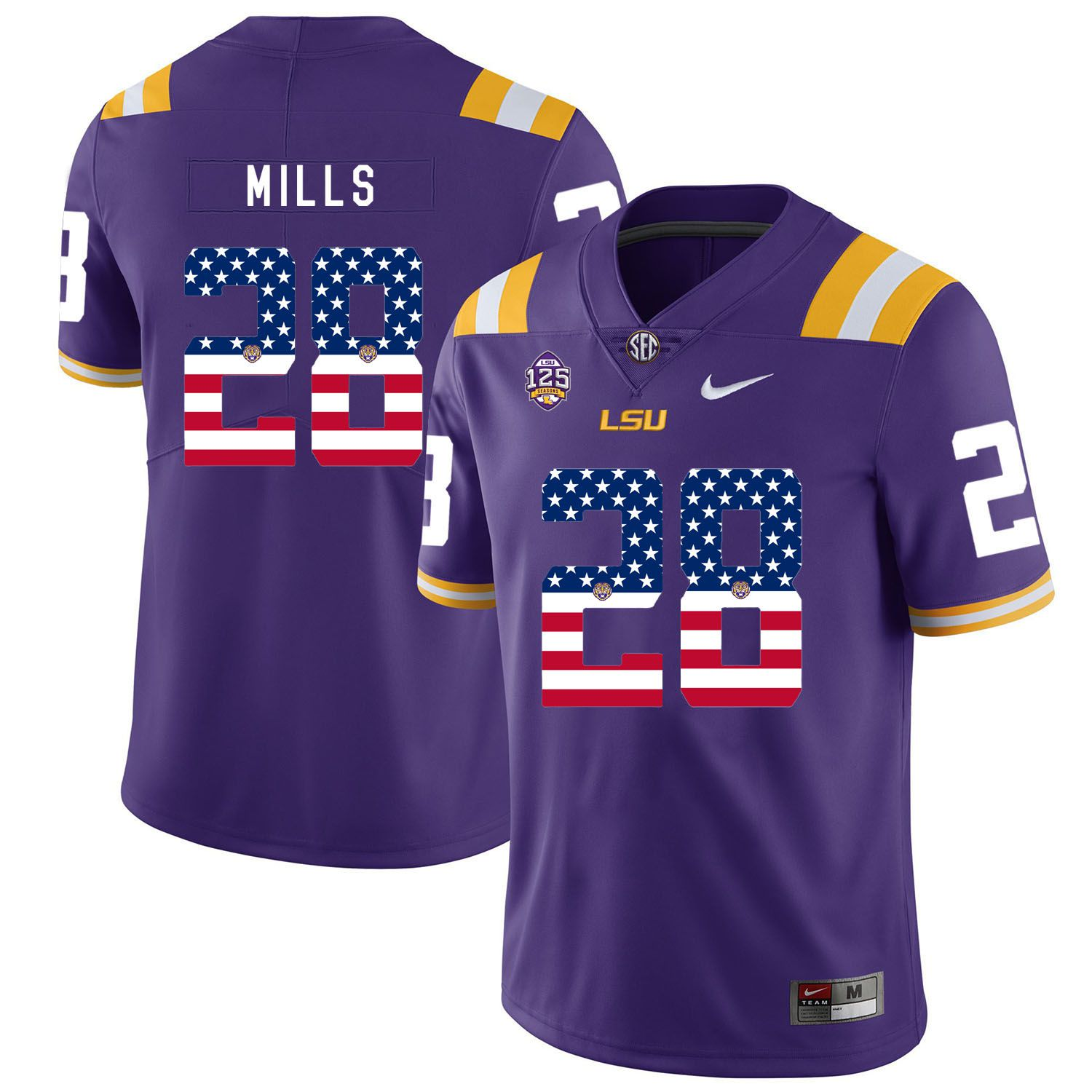 Men LSU Tigers 28 Mills Purple Flag Customized NCAA Jerseys