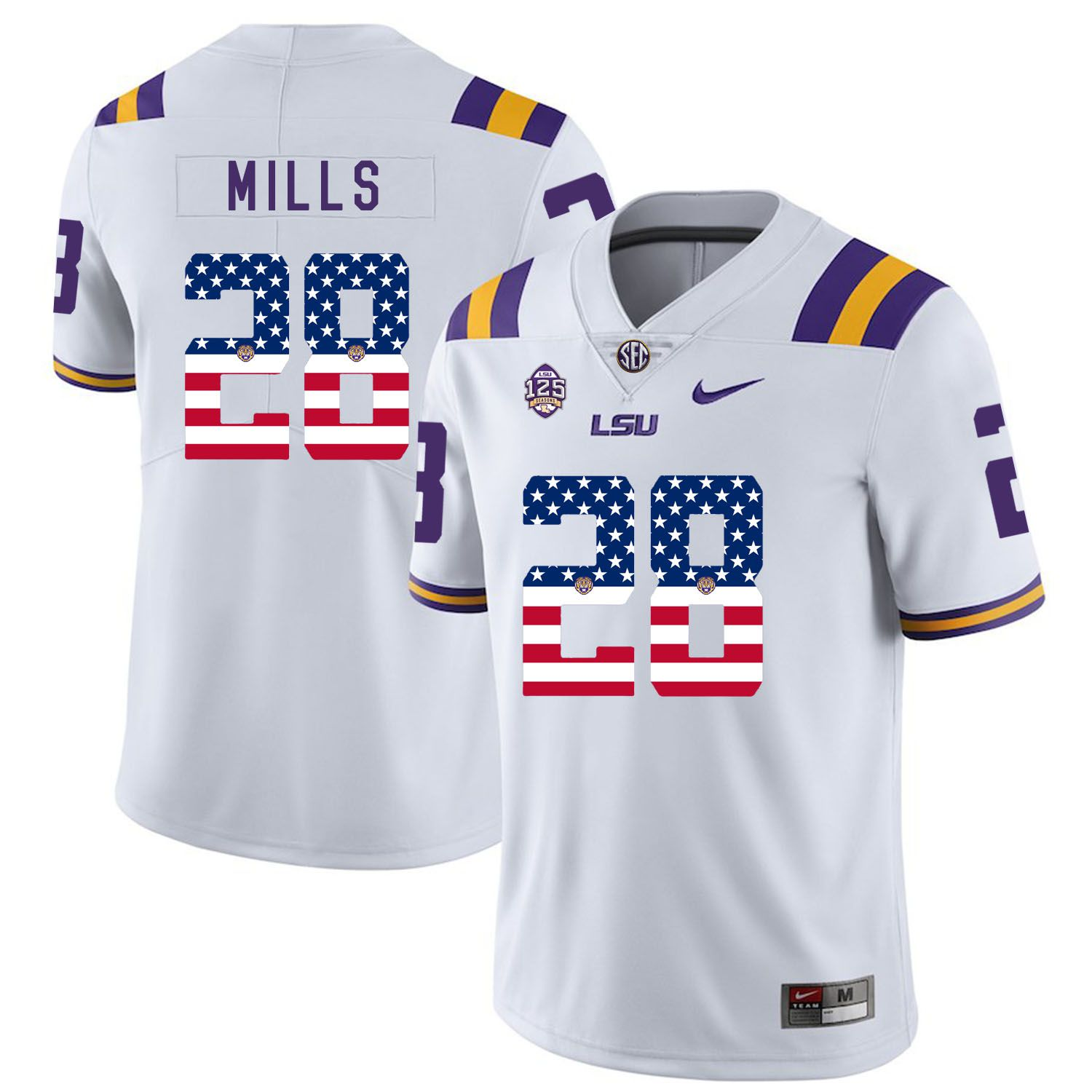 Men LSU Tigers 28 Mills White Flag Customized NCAA Jerseys