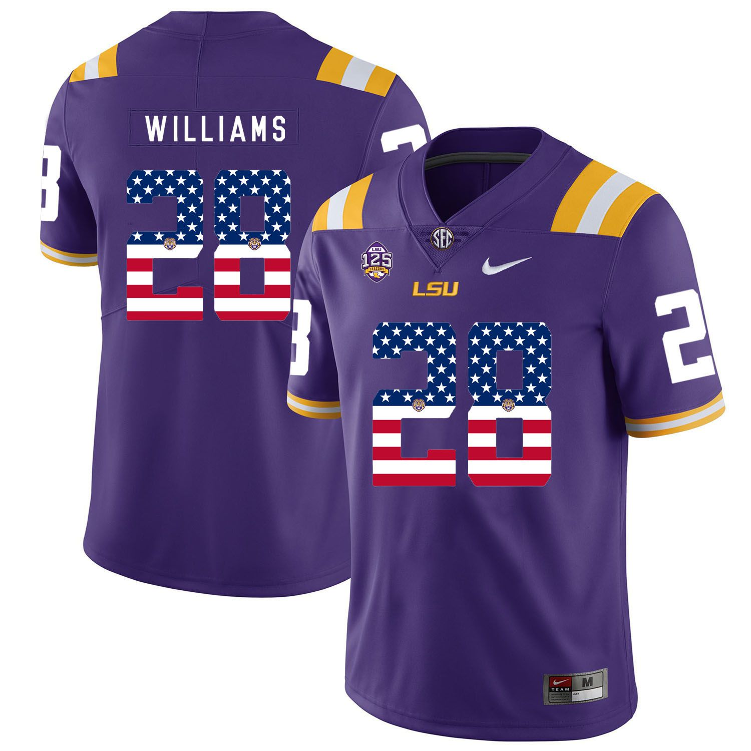 Men LSU Tigers 28 Williams Purple Flag Customized NCAA Jerseys