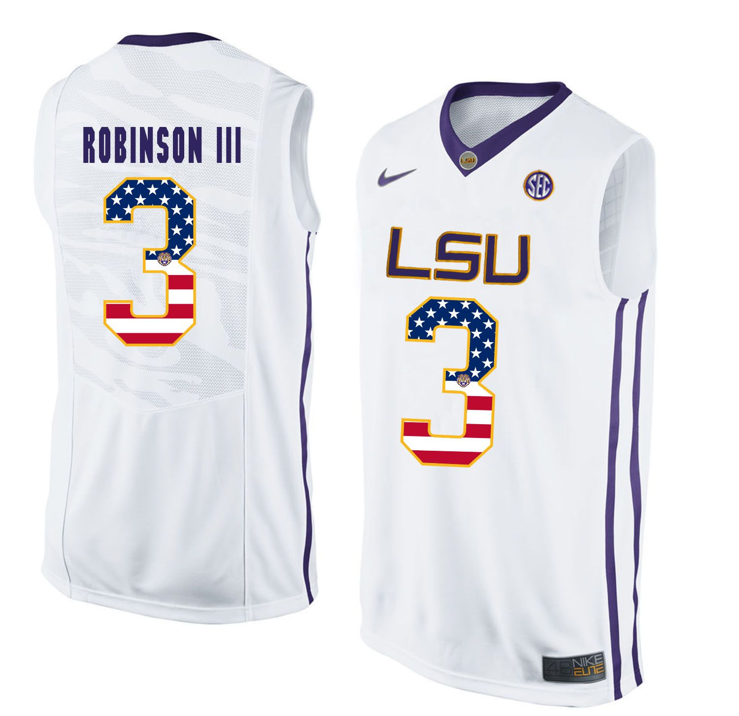 Men LSU Tigers 3 Robinson iii White Flag Customized NCAA Jerseys