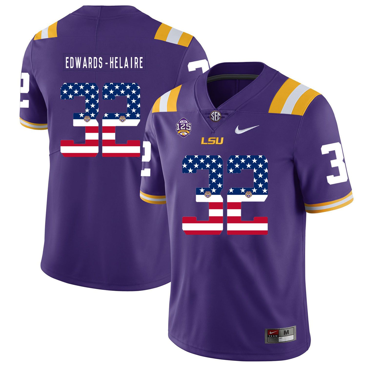 Men LSU Tigers 32 Edwards-helaire Purple Flag Customized NCAA Jerseys